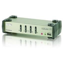 Aten 4-port KVMP USB+PS/2, usb hub, audio, OSD, 1