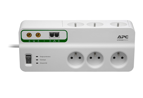APC Home / Office SurgeArrest 6 Outlets with Phone and Coax Protection 230V France - přep. ochrana 6 zásuvek 2,7m
