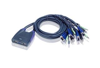 ATEN 4-port KVM USB mini, audio, 1.8m kabely