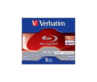 BD-RE VERBATIM DL Blu-Ray,Jewel,2x,50GB,(5-pack)