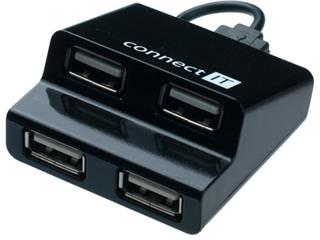 Connect IT CI-108 USB 2.0 HUB se 4 porty, Step černý