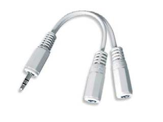 Kabel C-TECH rozdvojka jack 3,5mm na 2x3,5mm M/F, 10cm, audio