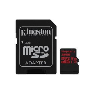 KINGSTON micro SDHC 32GB Canvas React micro SDHC UHS-I V30 (čtení/zápis: 100/70MB/s) + SD adaptér