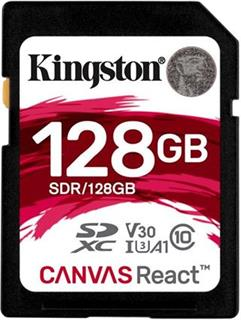 KINGSTON SDXC 128GB Canvas React UHS-I V30 (čtení/zápis: 100/80MB/s)