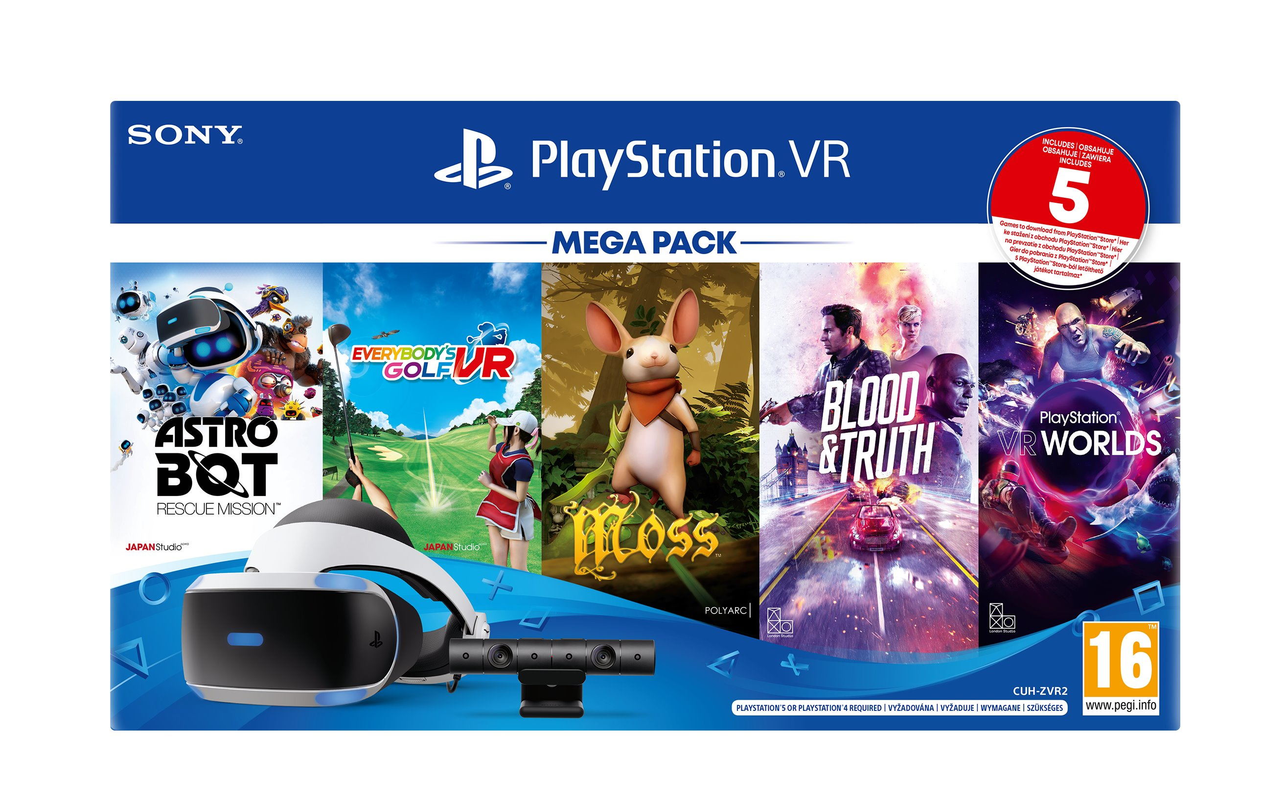 PlayStation VR Mega Pack3 - PS VR + Kamera + PS5 adaptér + hry