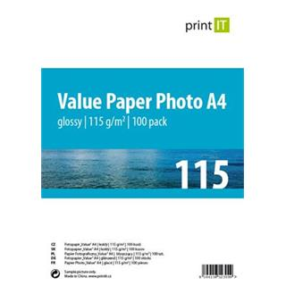 Print IT Value papír Photo A4 115 g/m2 Glossy 100pck/BAL