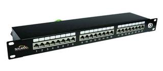 SOLARIX patch panel, CAT6, 24 x RJ45, STP, černý, 1U