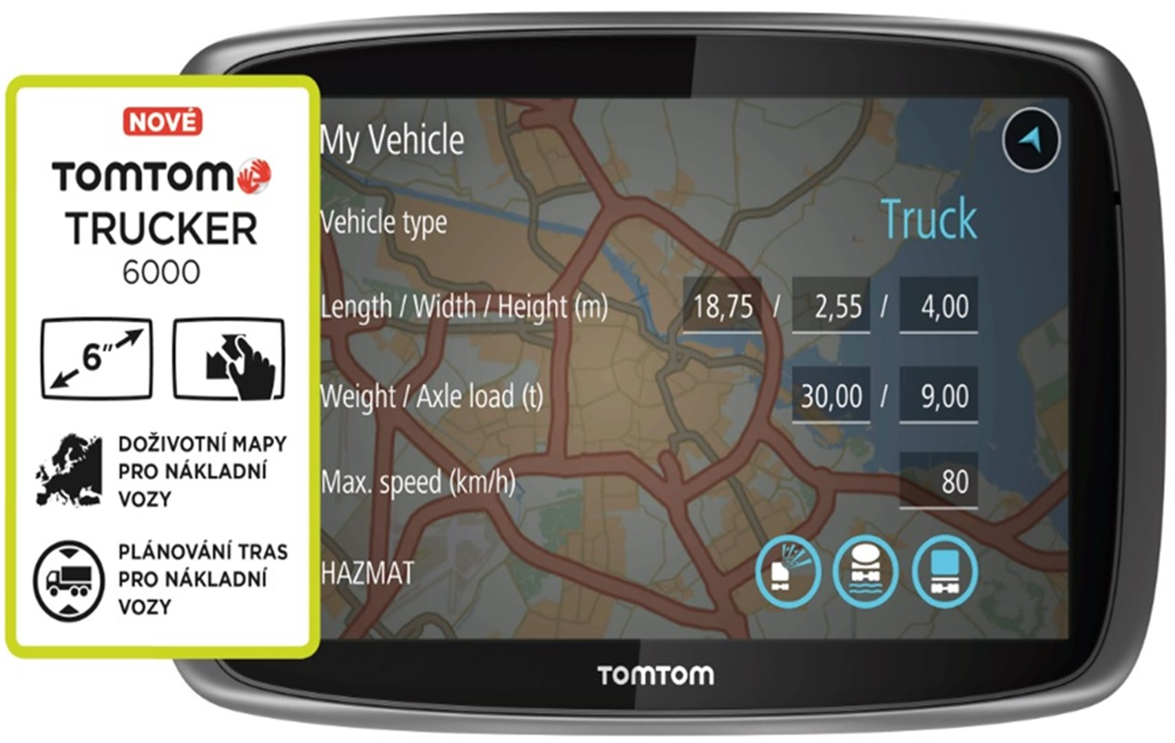tomtom trucker 6000 lifetime mapy t s bohemia. Black Bedroom Furniture Sets. Home Design Ideas