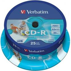 Verbatim CD-R Printable 700MB 52x cake 25 ks