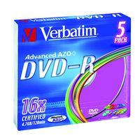 Verbatim DVD-R 4,7GB 16x Slim Colour (5-pack)