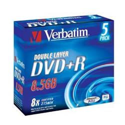 Verbatim DVD+R 8,5GB/240min 8x Disk (DL) Jewel (5-pack)